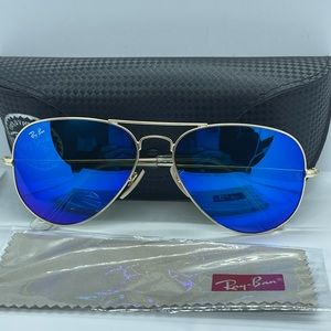 New Ray ban Aviator gold with Flash Blue MIrror 58